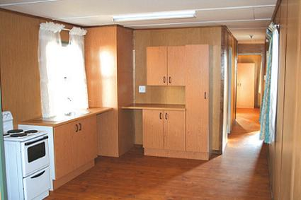 park home kitchen with built-in cupboards
